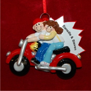 Couple on Motorcycle  Hand Personalized Christmas Ornaments by Russell Rhodes