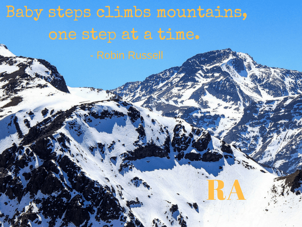 baby steps climbs mountains