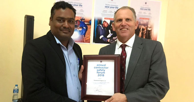 Chevron Nigeria Recognizes RusselSmith With Another Contractor Safety Award