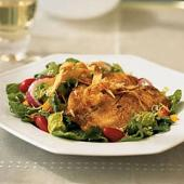 Cornmeal crusted Tilapia salad