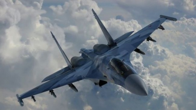 A Russian Su-35S fighter jet