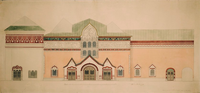 The sketch of the building's facade (unknown date).