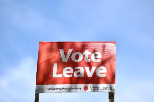 A 'Vote Leave' sign is seen by the roadside near Charing urging people to vote for Brexit in the upcoming EU referendum is seen on the roadside near Charing south east of London on June 16, 2016.