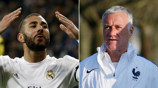 Karim Benzena is among the Maghrebian players excluded from the French Euro 2016 squad by manager Didier Deschamps (right)