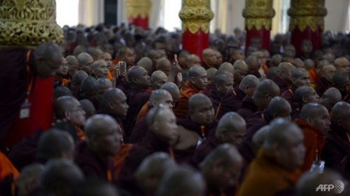 Hardline Myanmar monks, known as the Ma Ba Tha, gather at a monastery on the outskirts of Yangon on June 4, 2016, for the annual summit of their ulta-nationalist group.