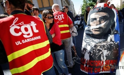French CGT labour union employees march during a demonstration in Marseille as part of nationwide protests against plans to reform French labour laws, France, June 14, 2016.