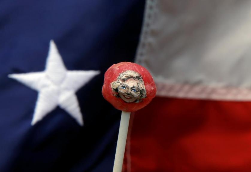 The image of Hillary Clinton is seen painted on a lollipop created by artist John Kettman in LaSalle, Illinois, June 8, 2016. REUTERS/Jim Young