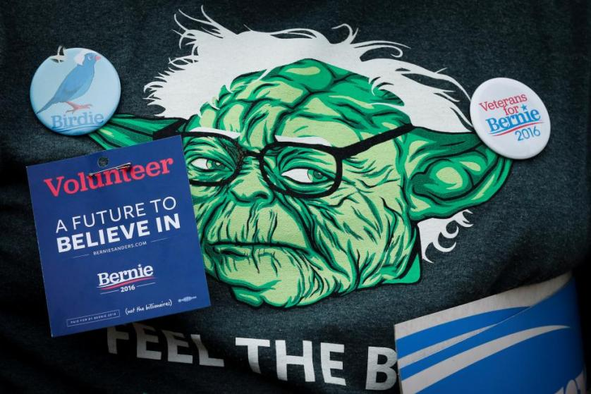 A t-shirt of a supporter of Bernie Sanders is adorned with pins at a campaign rally in San Francisco, California, June 6, 2016. REUTERS/Elijah Nouvelage