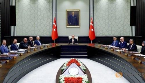 Turkish President Tayyip Erdogan (C) chairs a cabinet meeting in Ankara, Turkey, June 20, 2016. Kayhan Ozer/Presidential Palace