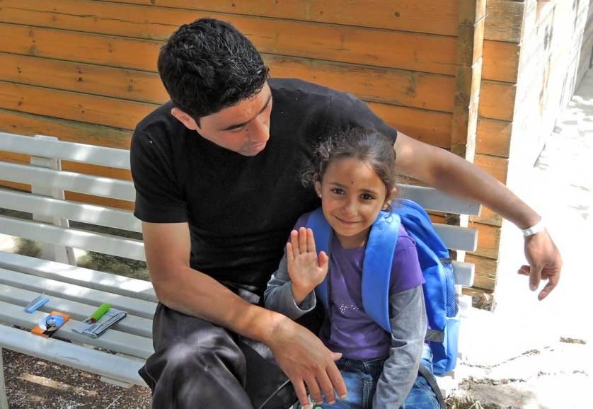 Беженцы в лагере Солидарность на острове Лесбос