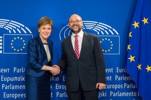 European Parliament President Martin Schultz, right, greets Scottish First Minister Nicola Sturgeon at the European Parliament in Brussels on Wednesday, June 29, 2016.