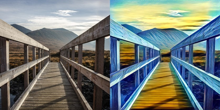 A photo of a wooden bridge on the Isle of Skye before and after Prisma