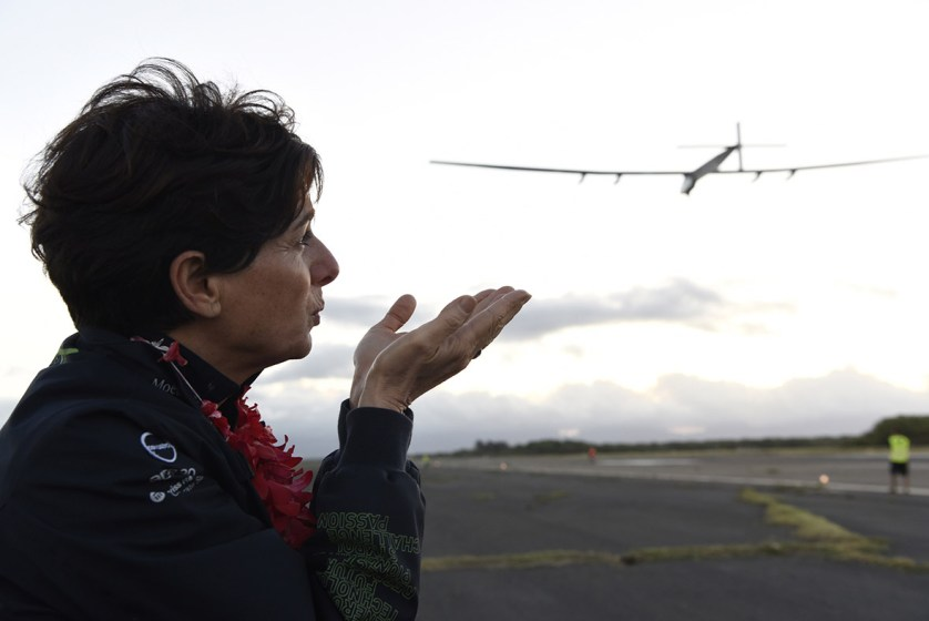 21 April 2016: Michele Piccard sends a kiss to her husband as Solar Impulse2 takes off from Kalaeloa Airport in O'ahu, Hawaii, on a non-stop, three-day flight to San Francisco