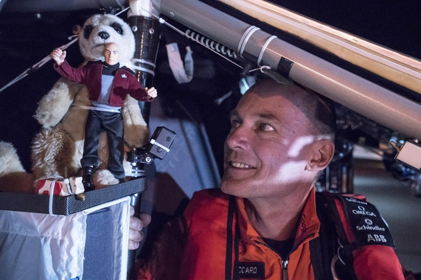 12 May 2016: Bertrand Piccard looks at a figurine of Captain Jean-Luc Picard prior to taking off from Goodyear Airport in Phoenix, Arizona, heading for Tulsa International Airport in Oklahoma