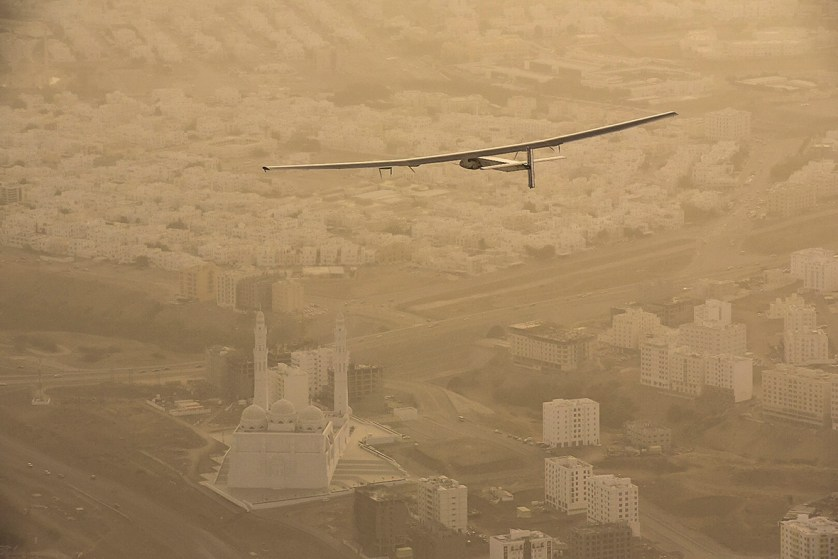 10 March 2015: Solar Impulse 2 flies over Muscat, Oman, en route to Ahmedabad in western India