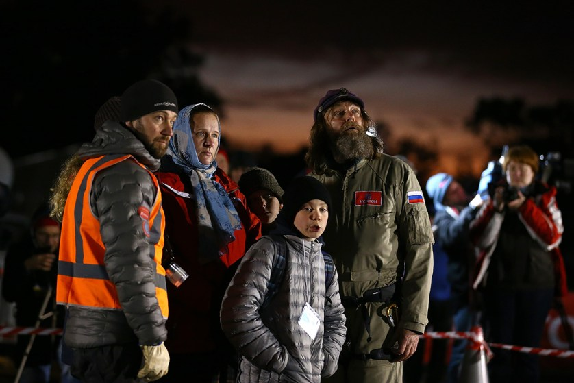 Fedor Konyukhov looks on with family members before lift off from the Northam Aero Club