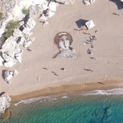Giant Aphrodite portrait created on Paphos beach