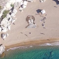 Giant Aphrodite portrait created on Paphos beach