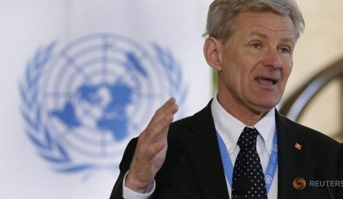 Special advisor to the United Nations Special Envoy for Syria Jan Egeland addresses a news conference after a meeting of the Task Force for Humanitarian Access at the U.N. in Geneva, Switzerland, March 17, 2016.