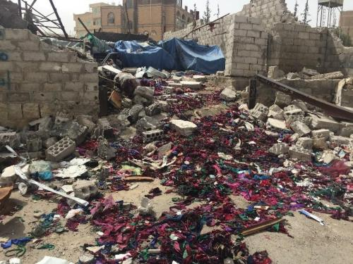 Seventeen workers remained inside the Middle East Workshop for Sewing and Embroidery when coalition aircraft bombed it on February 14, 2016. One died and four sustained injuries.