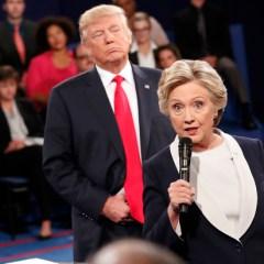 Trump faces Clinton in debate amid campaign chaos