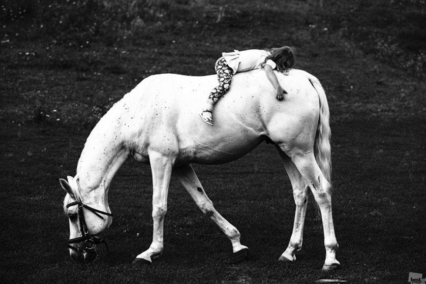 Девочка дружит с этой лошадью целый год. Для нее это счастье.