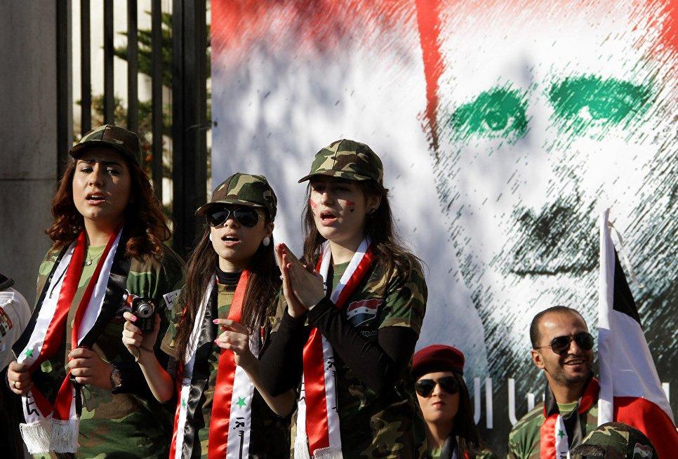 Граффити с изображением Башара Асада в Дамаске, Сирия.