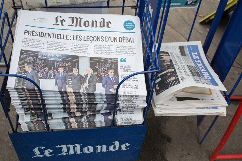 Первые полосы французских газет, посвященных президентским дебатам