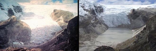 Изменение климата начало влиять на ледники в 1970-х годах. Вот фотографии ледника Кори-Калис в Перу в 1978 и в 2011 годах. © NASA