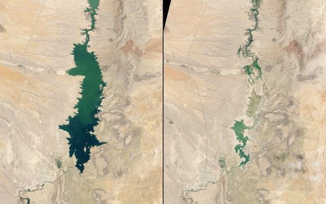 И то же самое произошло с водохранилищем Элефант-Бьютт в Нью-Мексико. Сравните его состояние в 1994 году с 2013 годом. © NASA