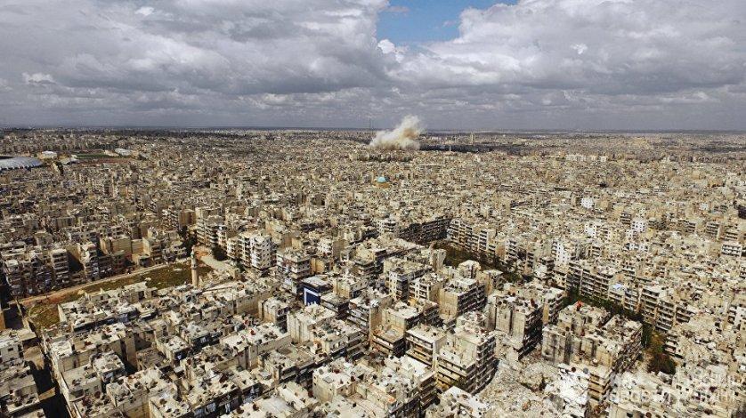 Вид на город Алеппо. Сирия, 13.04.2016.