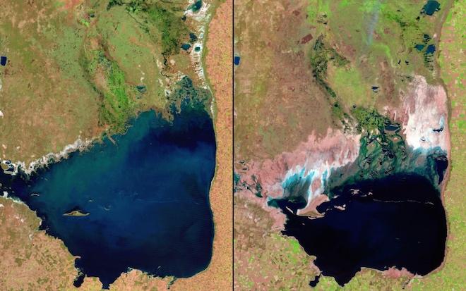 Озеро Мар-Чикита в Аргентине значительно уменьшилось с 1998 по 2011 годы. © NASA