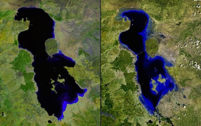 Исчезающее озеро Урмия в Иране — снято в июле 2000 года и июле 2013 года. © NASA
