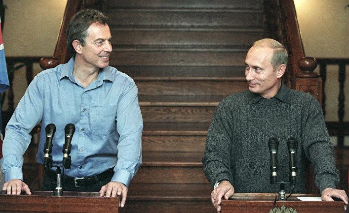 Путин и Блэр на пресс-конференции, 2002 год