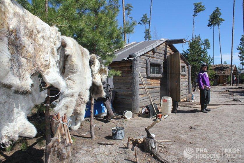 """У ханты и манси есть не только чумы, но и """"зимники"""" - бревенчатые дома, утепленные мхом, в которых они проводят холодное время года."""