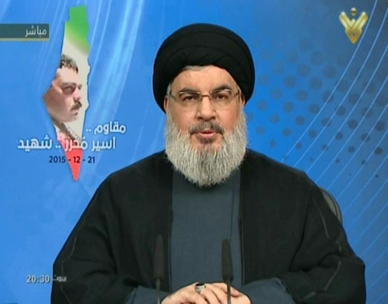 Скриншот телепередачи  канала  Аль-Манар принадлежащего Хезболле  от  21 декабря 2015  года  на  котором показано  телеобращение   Хасана Насраллы, лидера  воинственного шиитского мусульманского движения  Хезболла в Ливане.