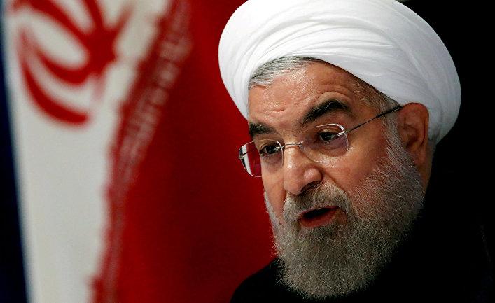 22 сентября 2016. Президент Ирана Хасан Роухани на пресс-конференции в Нью-Йорке.