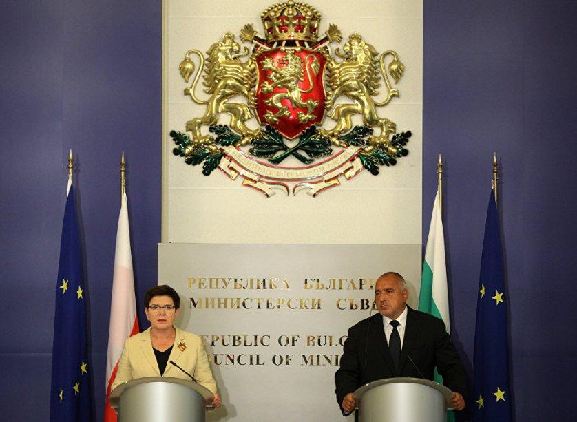 Премьер-министры Болгарии и Польши Бойко Борисов и Беата Шидло во время пресс-конференции в Софии. 20 сентября 2017