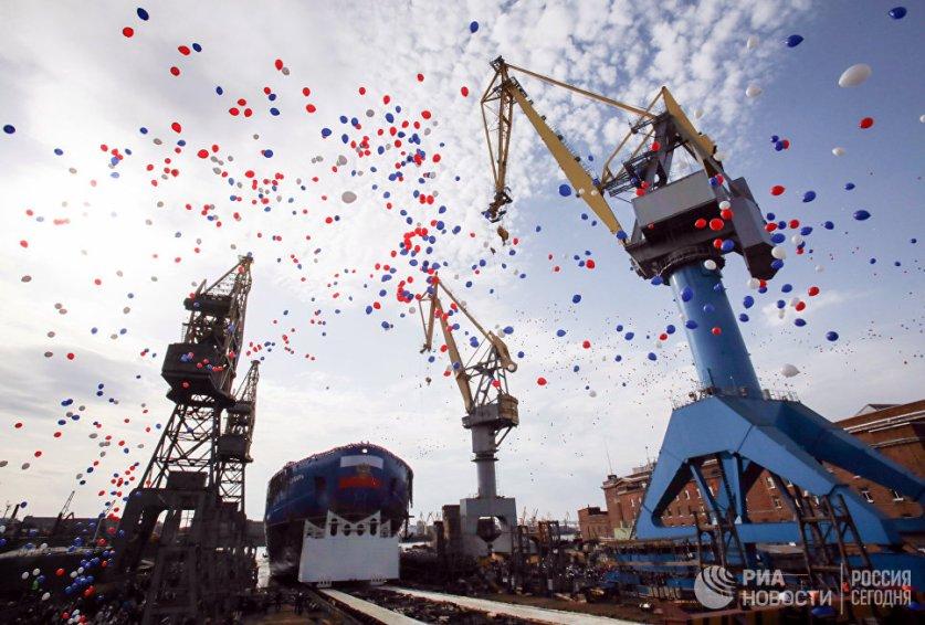 تدشين اضخم كاسحة جليد نووية جديدة في روسيا