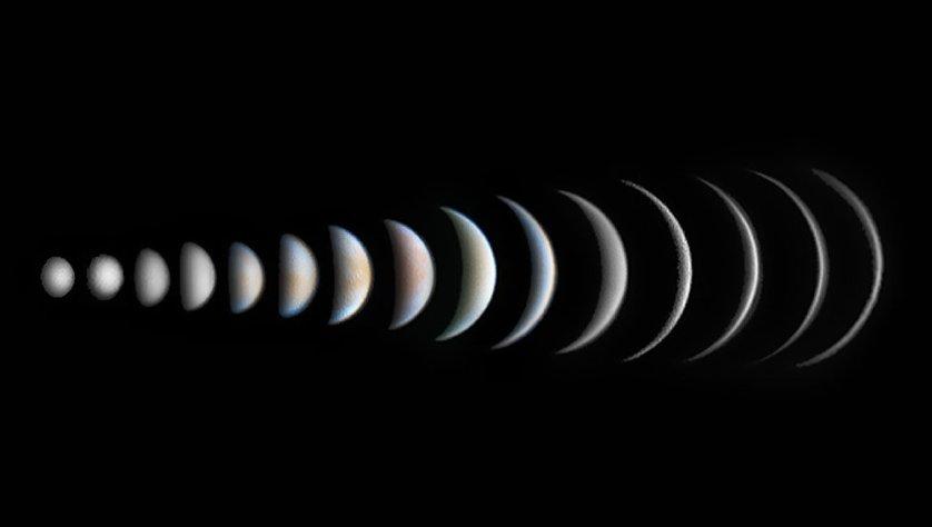"""Снимок фотографа Роджера Хатчинсона из Великобритании """"Эволюция фаз Венеры"""" (Venus Phase Evolution), победивший в категории """"Планеты, кометы и астероиды""""."""