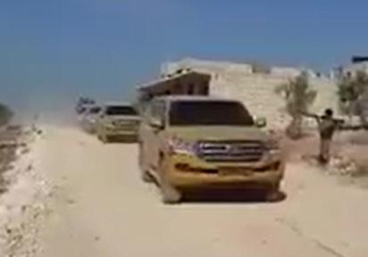 Якобы конвой турецких военных в сопровождении боевиков «Аль-Каиды» в Идлибе. Фото: twitter.com.