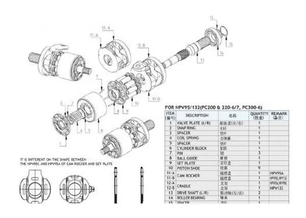 Excavator Pc400-6 Hpv132 Komatsu Hydraulic Pump Parts For