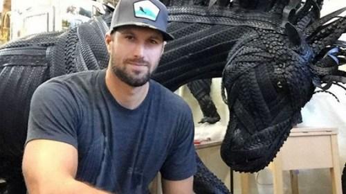 Бейсболист создаёт удивительные скульптуры из велосипедных шин
