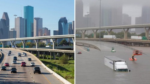 Хьюстон до и после урагана «Харви»