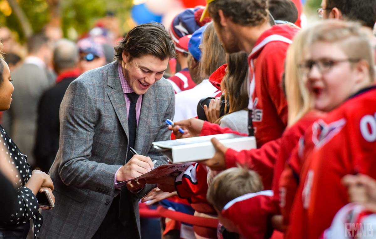 TJ Oshie arrives and signs autographs