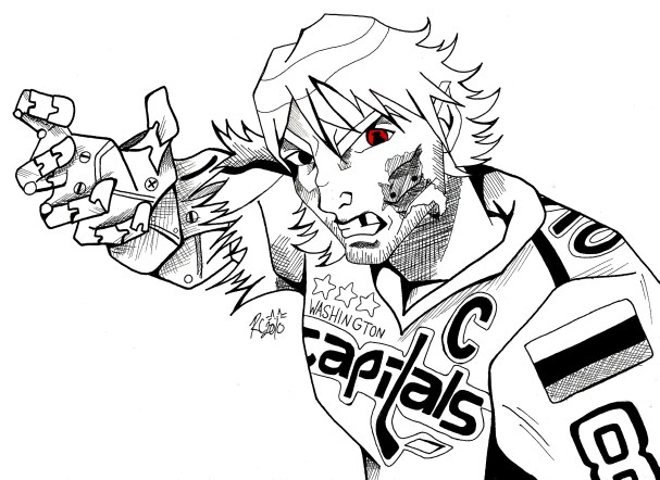 Pen and Ink of Alex Ovechkin by Rachel Kat Cohen