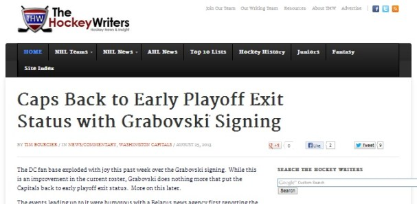 Caps Back to Early Playoff Exit Status with Grabovski Signing