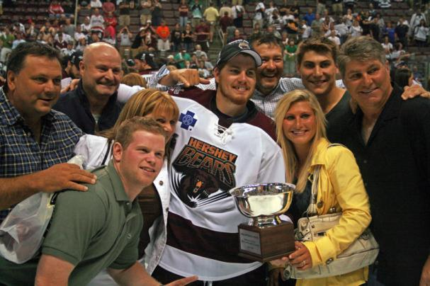 Chris Bourque, Ray Bourque and the rest of the Bourque clan pose for a picture.