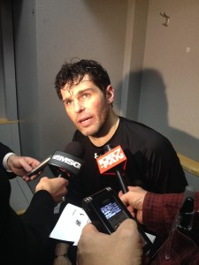 Jagr talks to the media after the game. (Photo credit: Katie Brown)