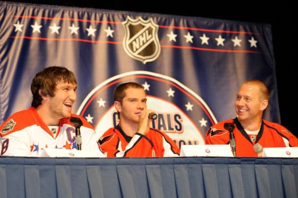 Alex Ovechkin, Matt Bradley and Eric Fehr all participate in a Kids Presser at the Caps Convention